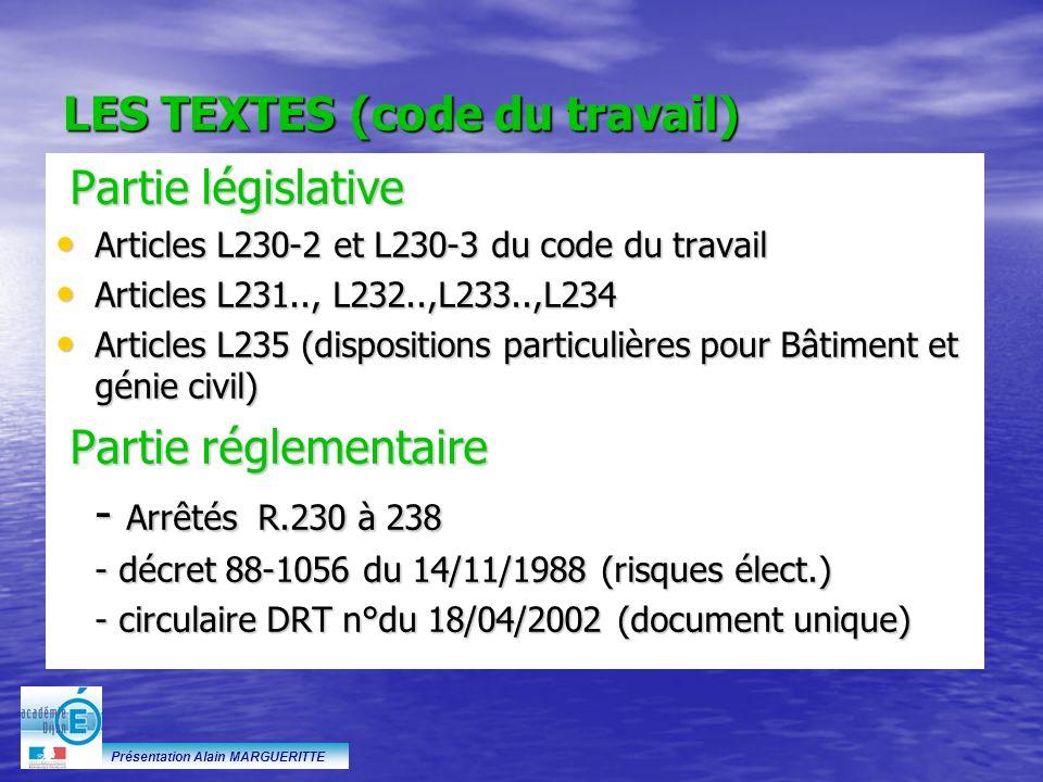 LES TEXTES (code du travail)