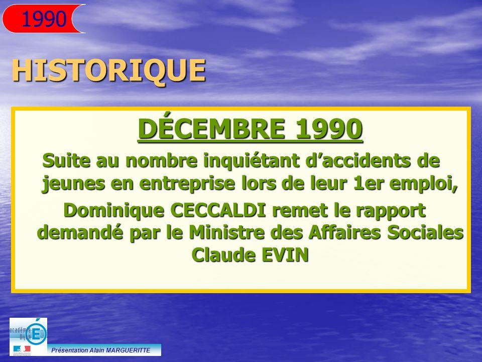 1990 HISTORIQUE. DÉCEMBRE 1990. Suite au nombre inquiétant d'accidents de jeunes en entreprise lors de leur 1er emploi,