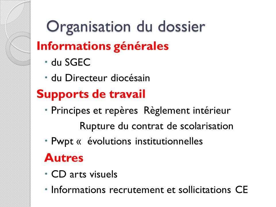 Organisation du dossier
