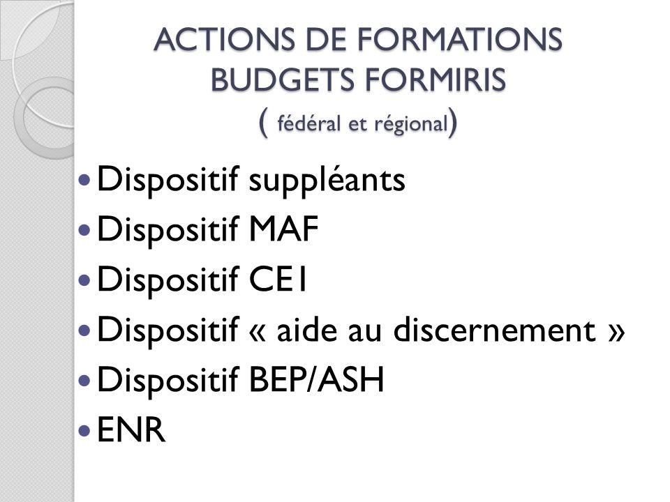 ACTIONS DE FORMATIONS BUDGETS FORMIRIS ( fédéral et régional)