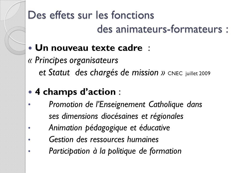 Des effets sur les fonctions des animateurs-formateurs :