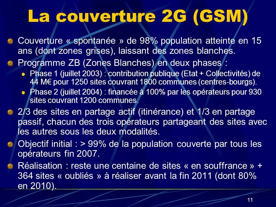 La couverture 2G (GSM) Couverture « spontanée » de 98% population atteinte en 15 ans (dont zones grises), laissant des zones blanches.