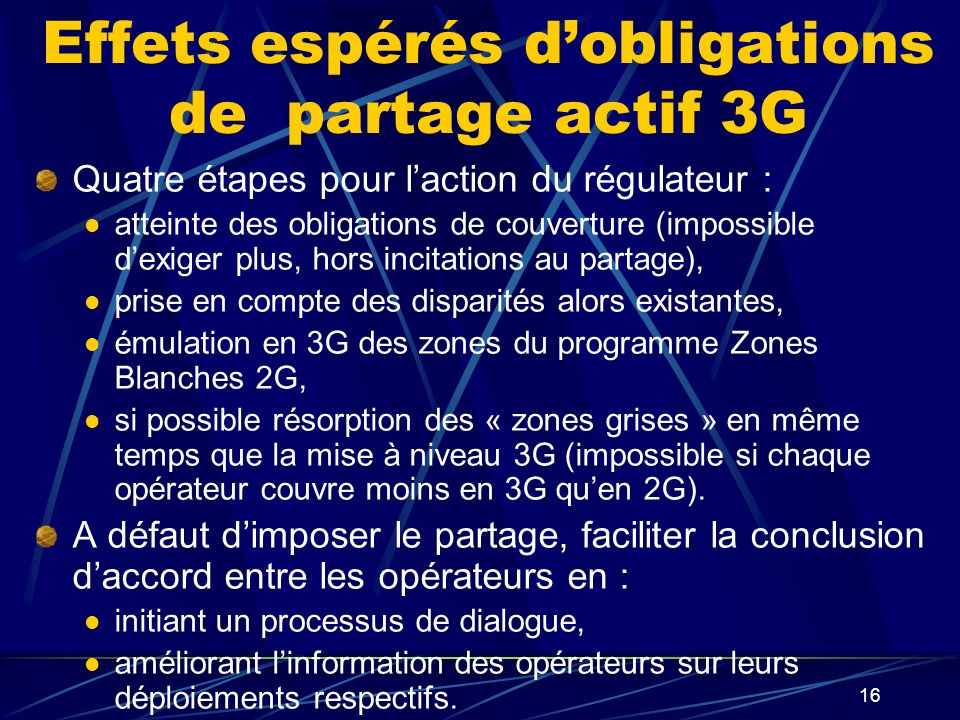 Effets espérés d'obligations de partage actif 3G