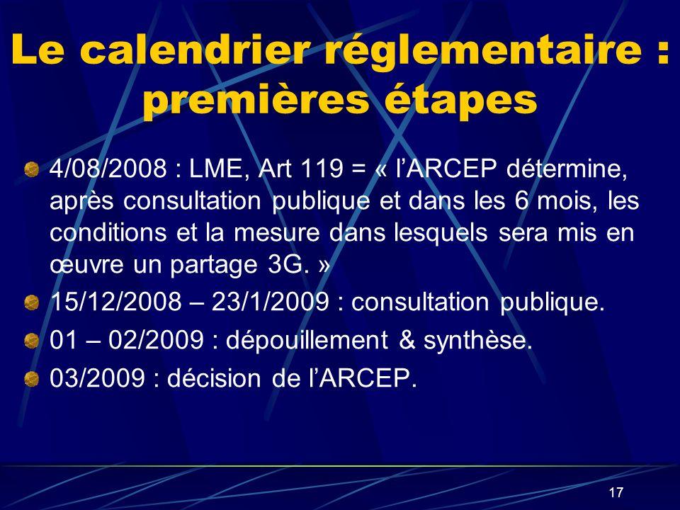 Le calendrier réglementaire : premières étapes