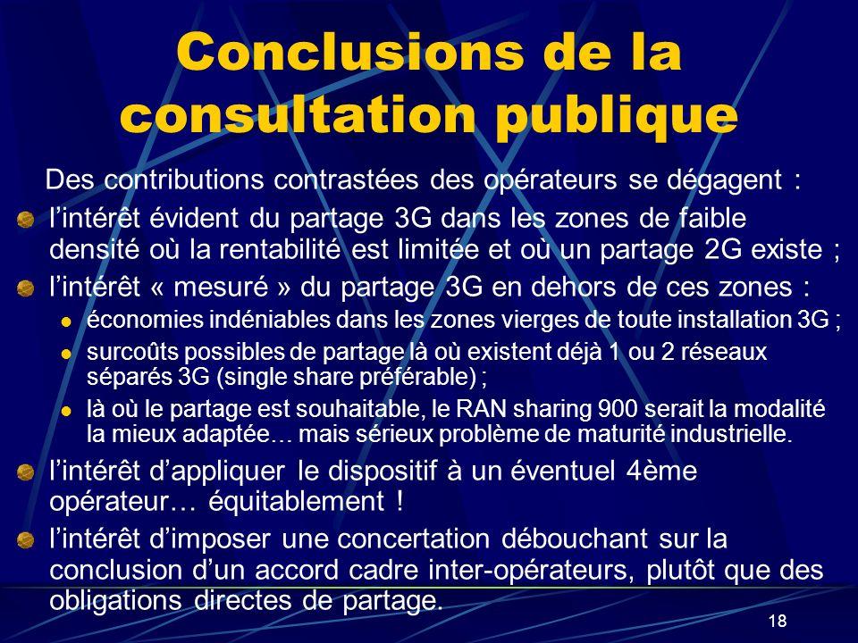 Conclusions de la consultation publique