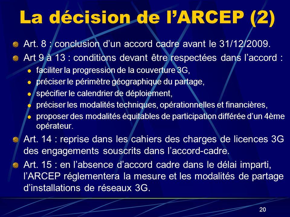 La décision de l'ARCEP (2)