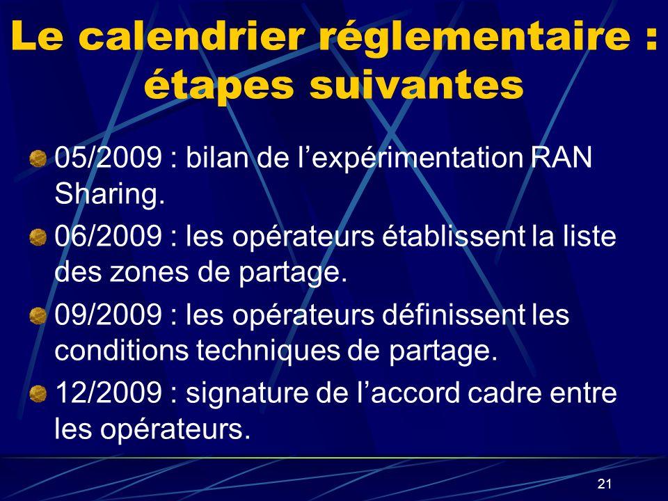 Le calendrier réglementaire : étapes suivantes