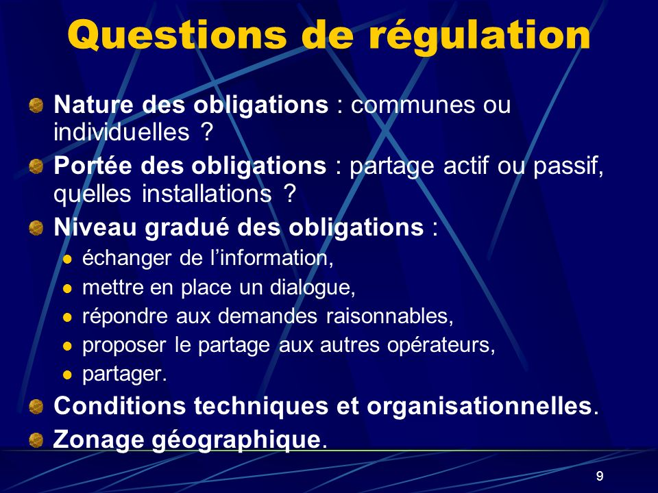 Questions de régulation