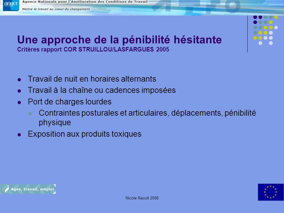 Une approche de la pénibilité hésitante Critères rapport COR STRUILLOU/LASFARGUES 2005