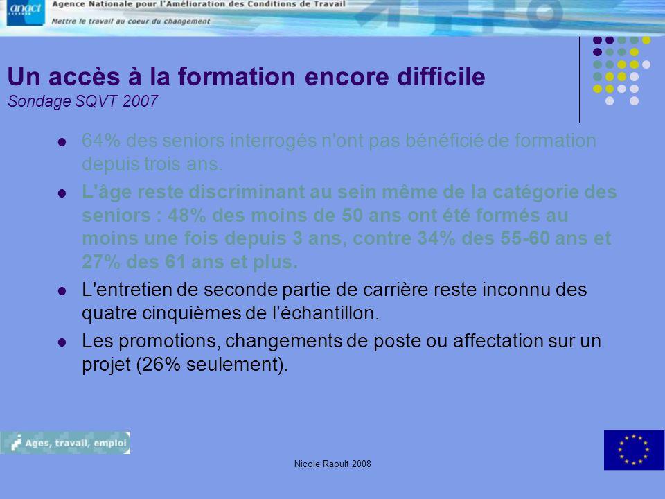 Un accès à la formation encore difficile Sondage SQVT 2007