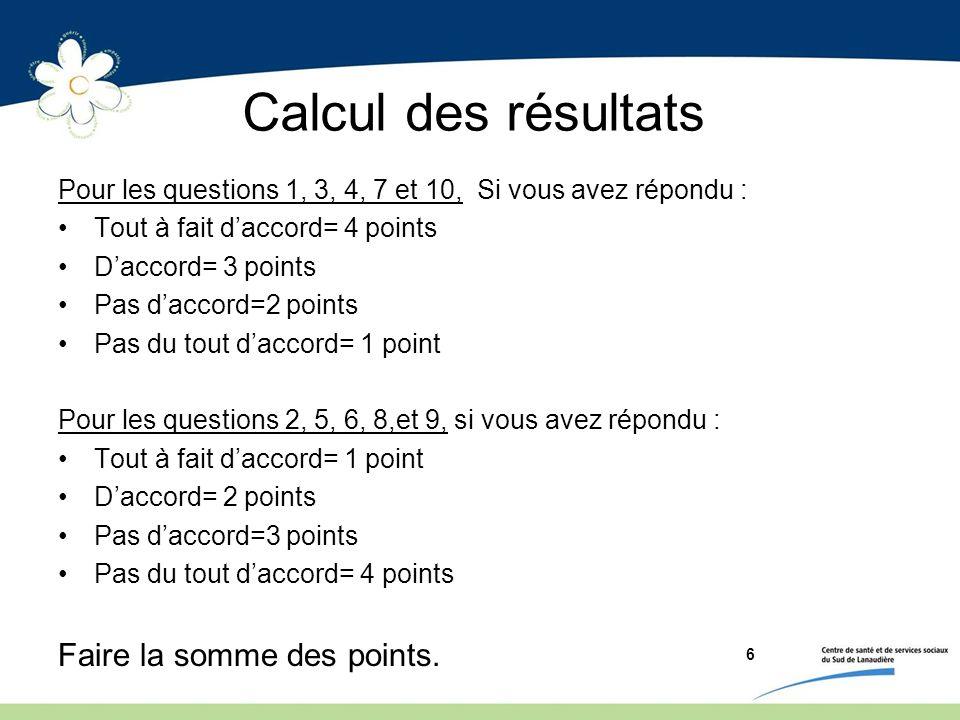 Calcul des résultats Faire la somme des points.