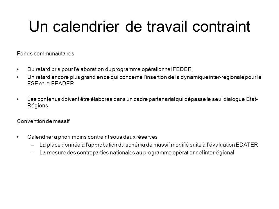 Un calendrier de travail contraint