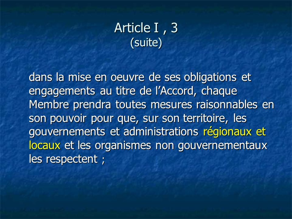 Article I , 3 (suite)