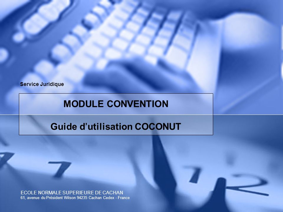 MODULE CONVENTION Guide d'utilisation COCONUT