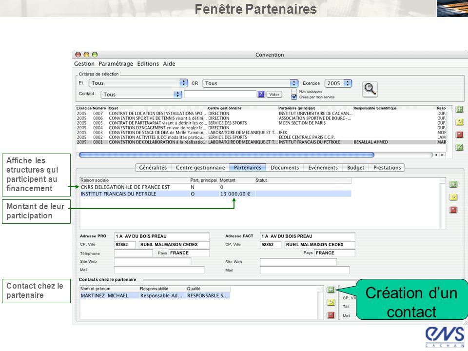 Création d'un contact Fenêtre Partenaires