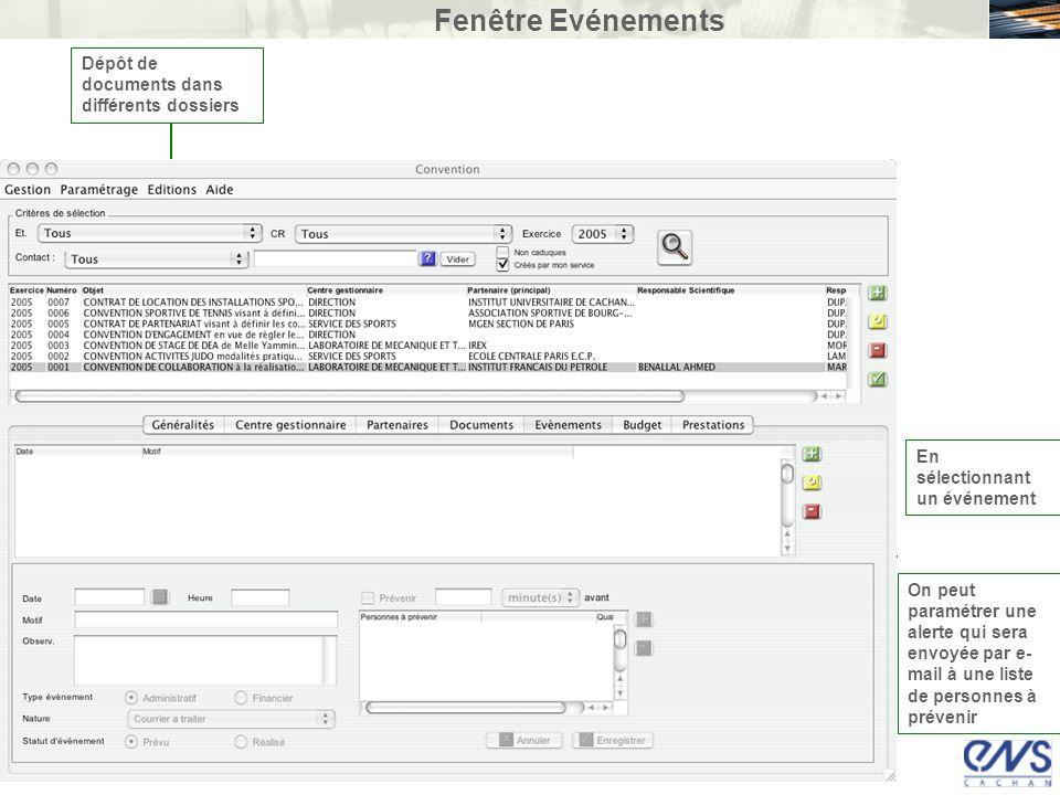 Fenêtre Evénements Dépôt de documents dans différents dossiers