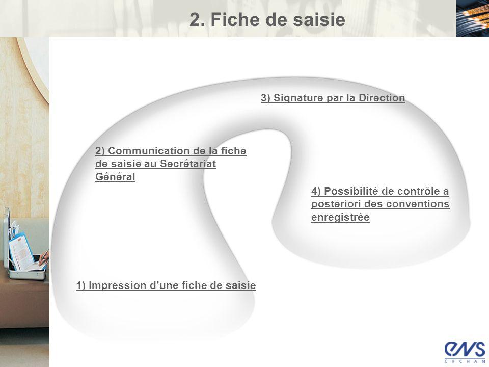 2. Fiche de saisie 3) Signature par la Direction
