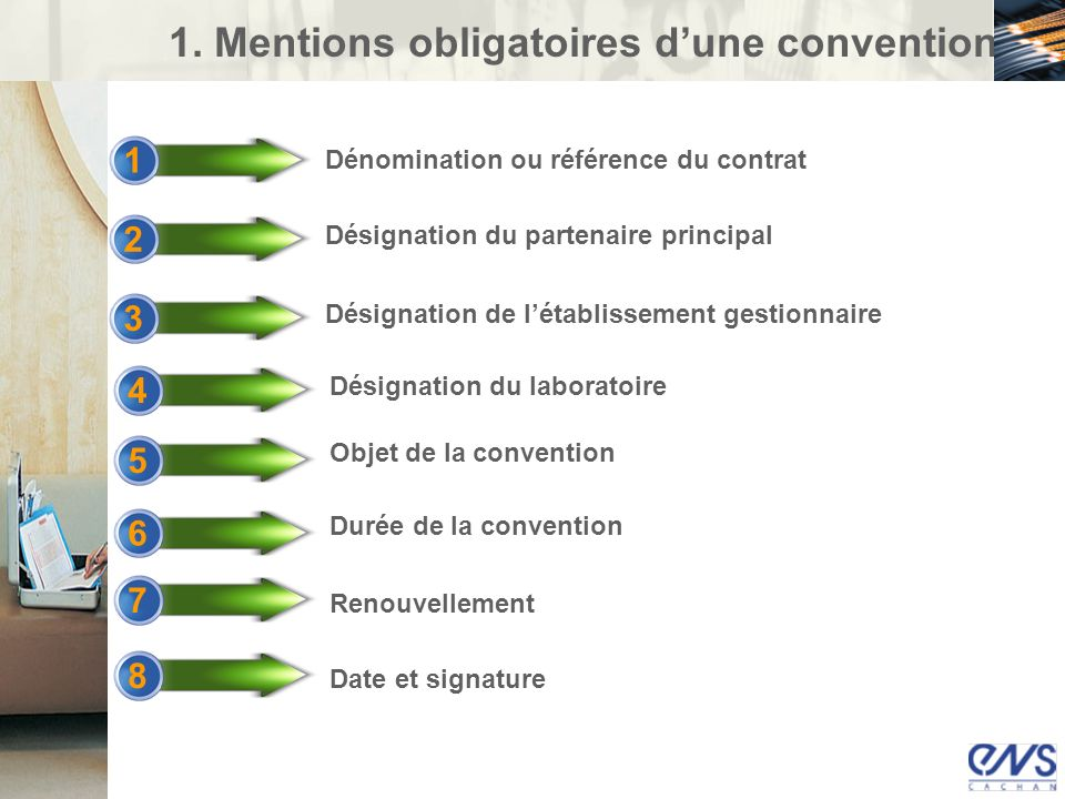 1. Mentions obligatoires d'une convention