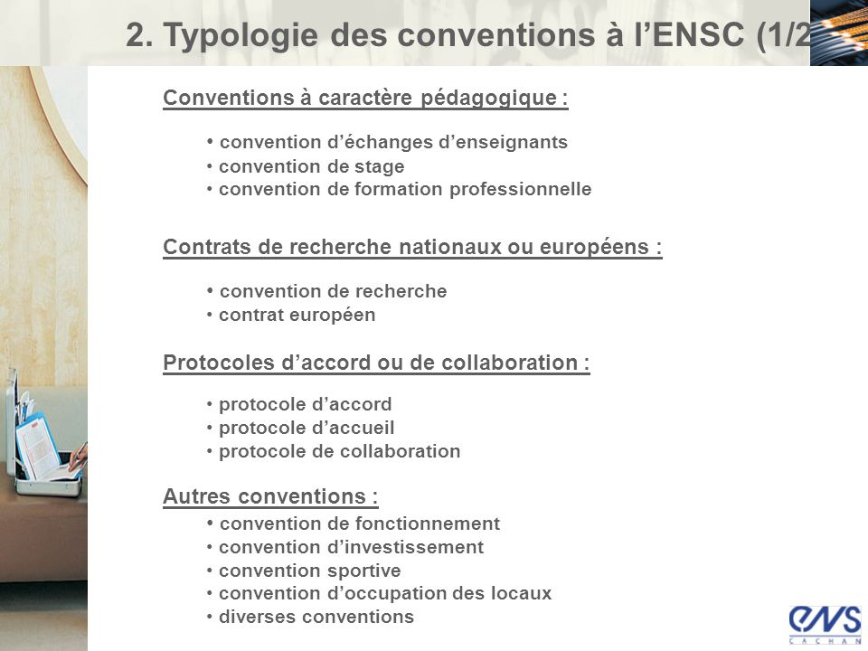 2. Typologie des conventions à l'ENSC (1/2)