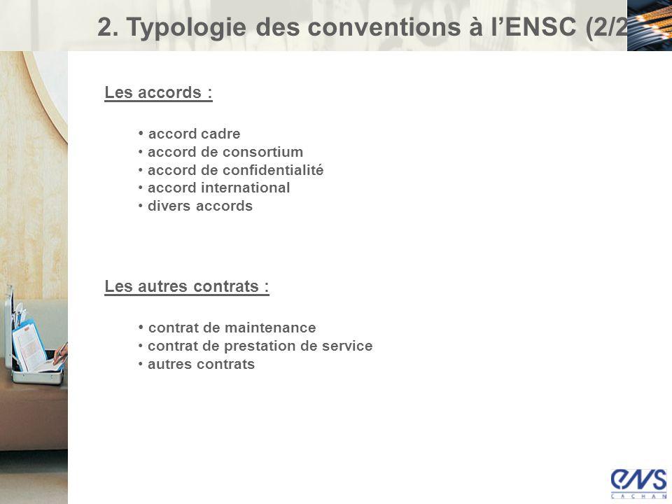 2. Typologie des conventions à l'ENSC (2/2)