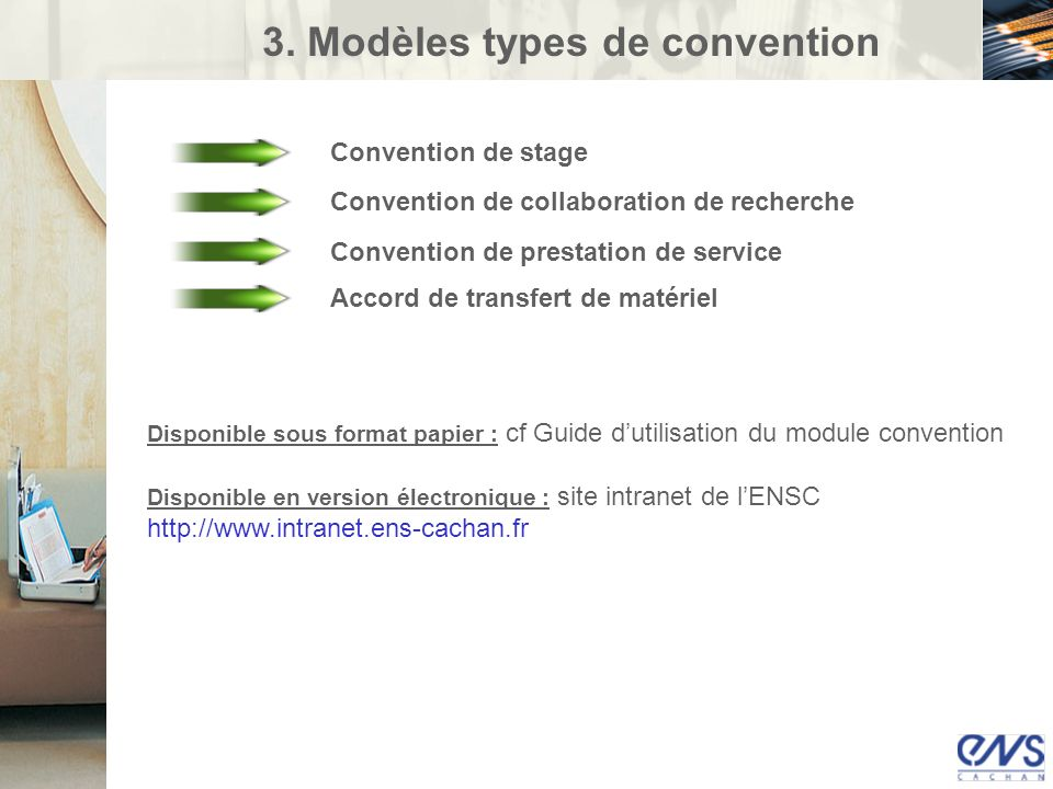3. Modèles types de convention