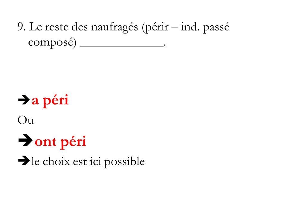 9. Le reste des naufragés (périr – ind. passé composé) _____________.
