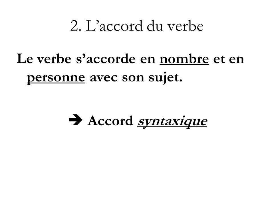 2. L'accord du verbe Le verbe s'accorde en nombre et en personne avec son sujet.