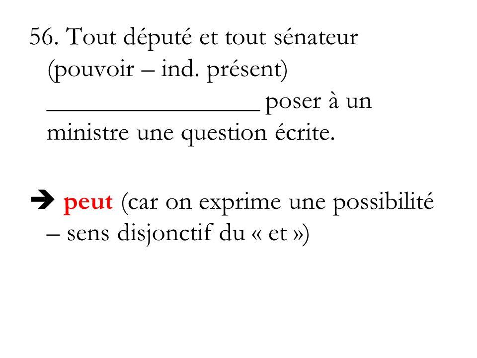 56. Tout député et tout sénateur (pouvoir – ind