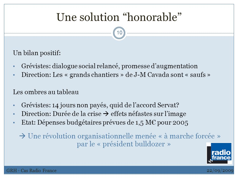 Une solution honorable
