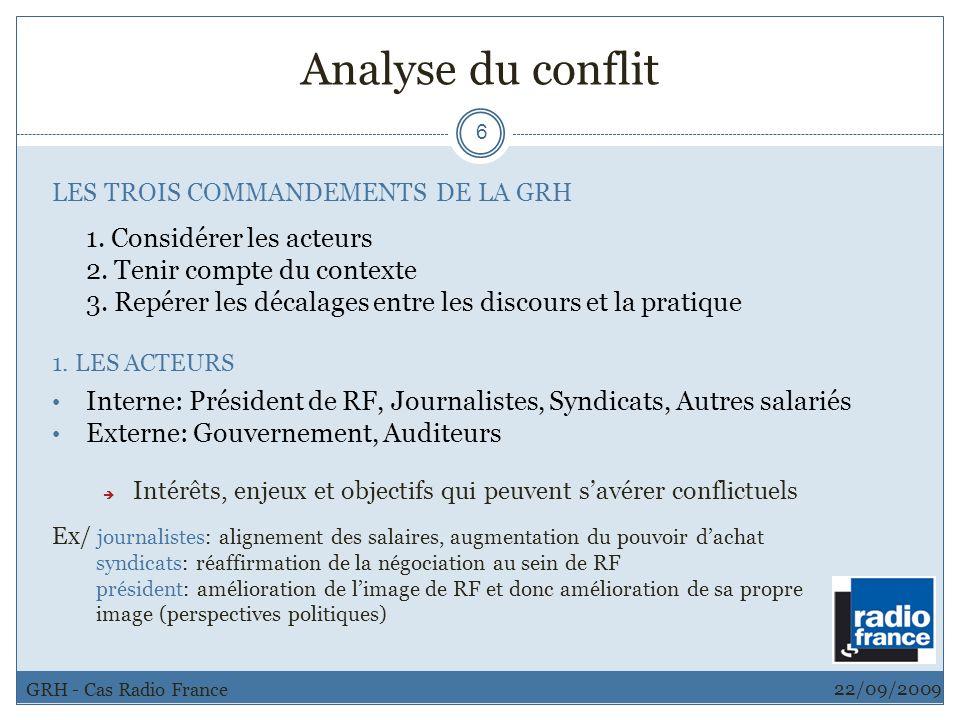 Analyse du conflit 2. Tenir compte du contexte