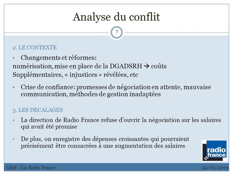 Analyse du conflit Changements et réformes: