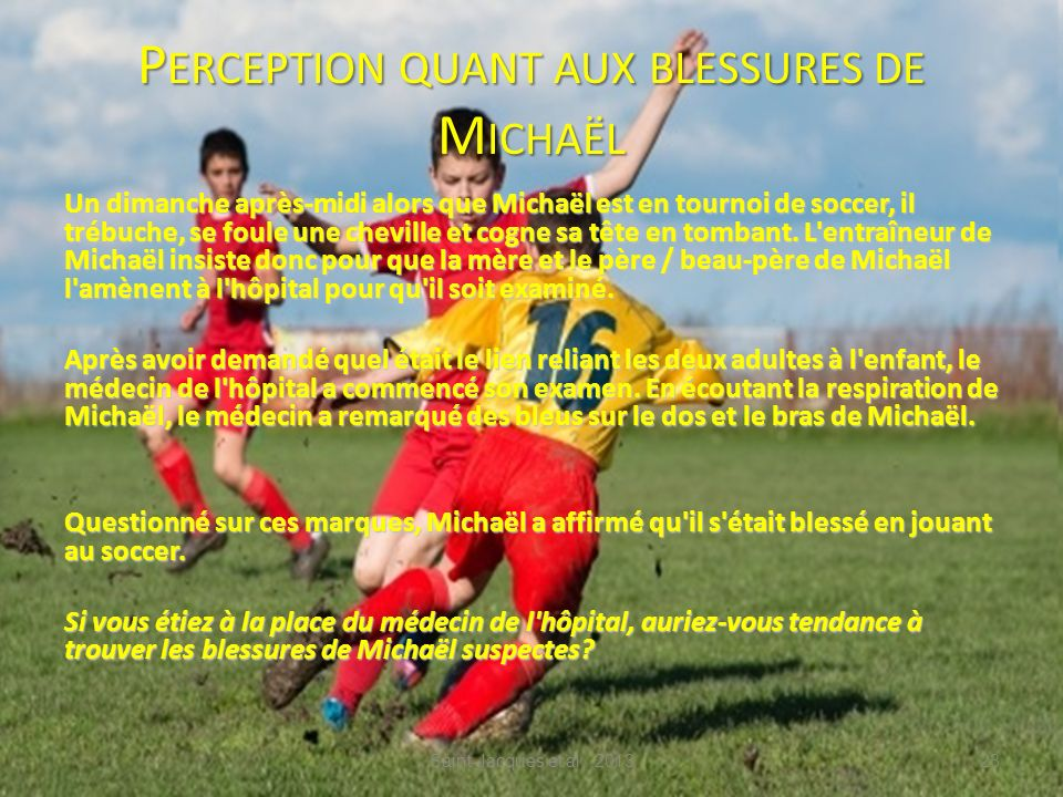 Perception quant aux blessures de Michaël