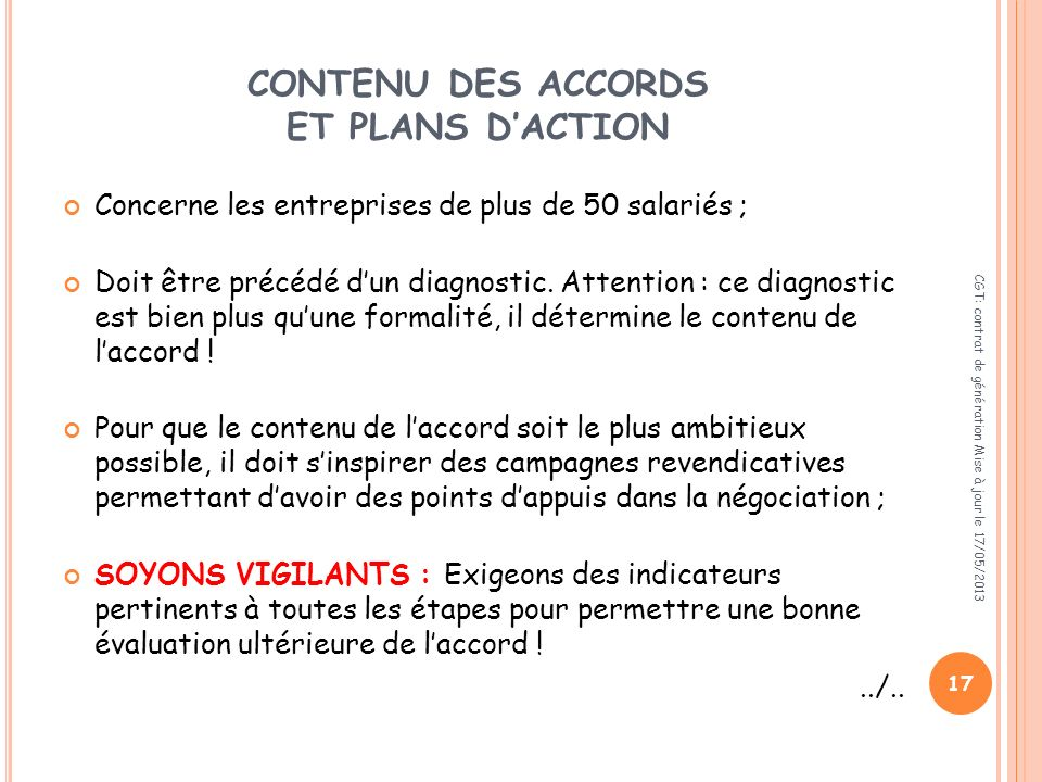 CONTENU DES ACCORDS ET PLANS D'ACTION