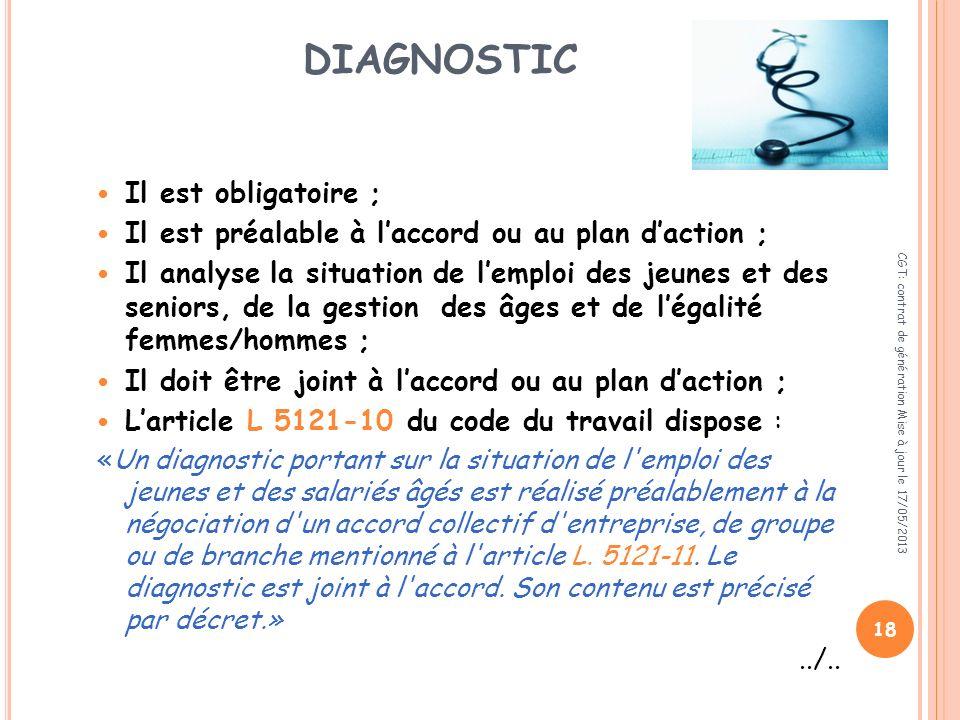 DIAGNOSTIC Il est obligatoire ;