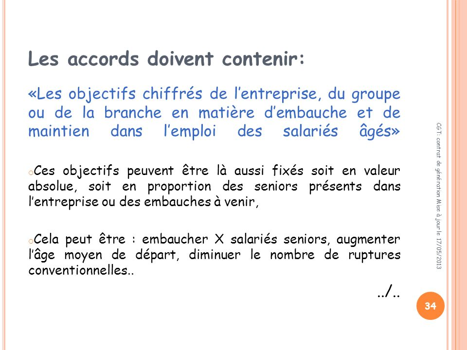 Les accords doivent contenir:
