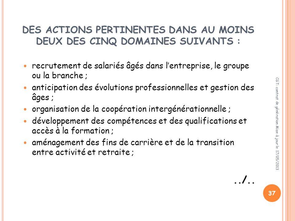 DES ACTIONS PERTINENTES DANS AU MOINS DEUX DES CINQ DOMAINES SUIVANTS :