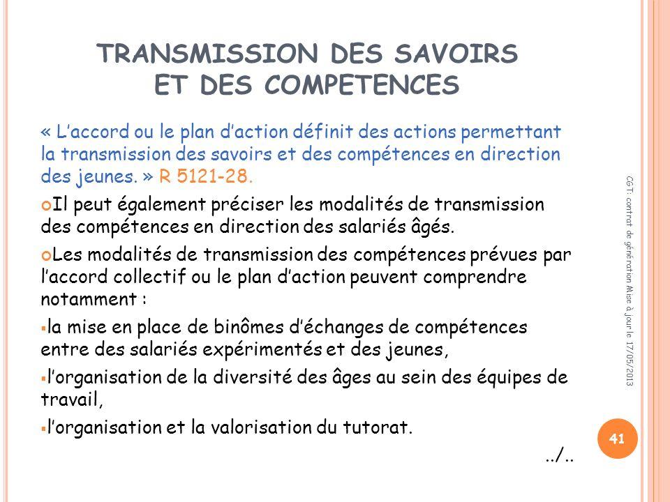 TRANSMISSION DES SAVOIRS ET DES COMPETENCES