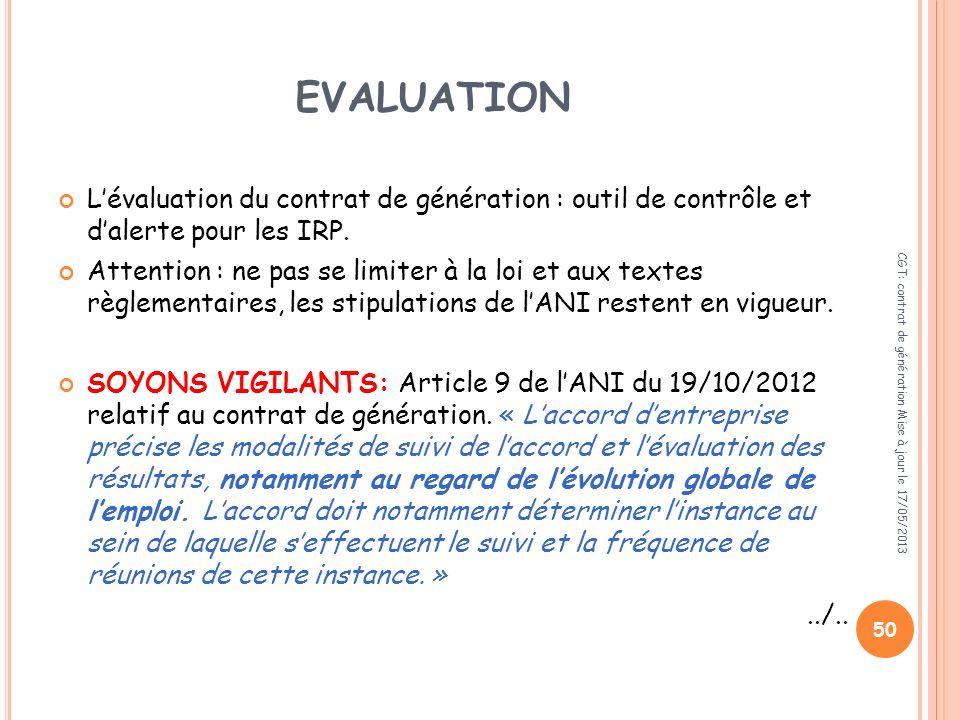 EVALUATION L'évaluation du contrat de génération : outil de contrôle et d'alerte pour les IRP.