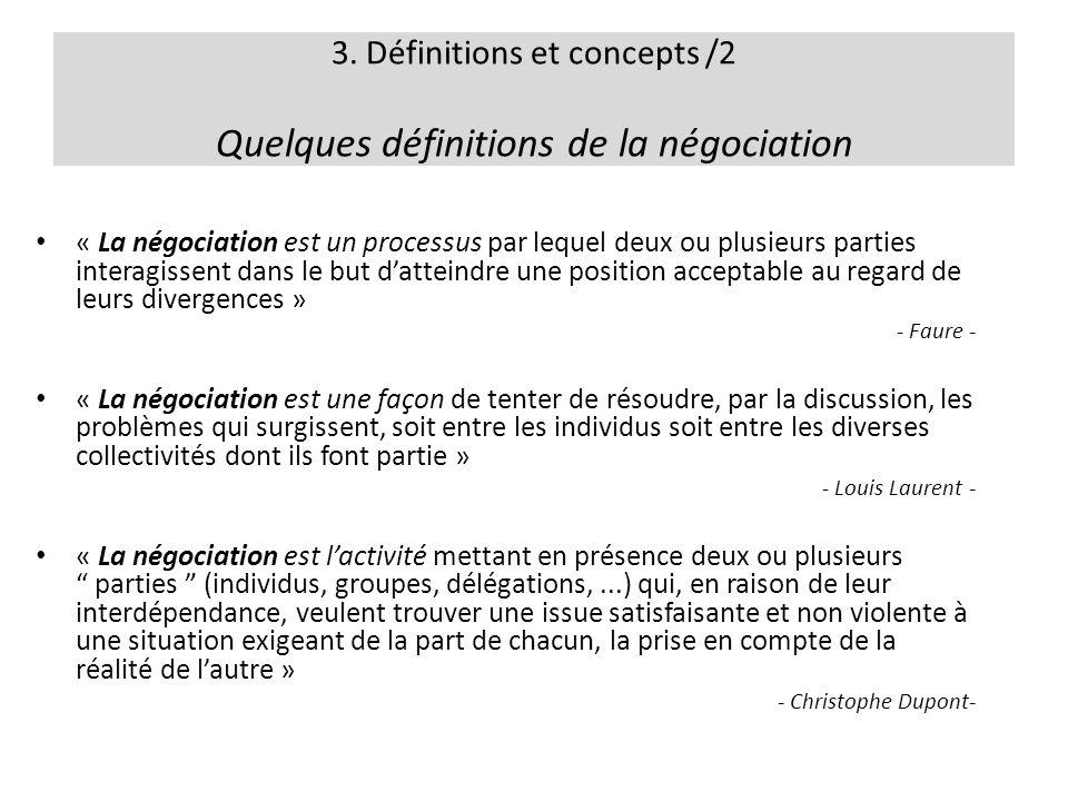 3. Définitions et concepts /2 Quelques définitions de la négociation