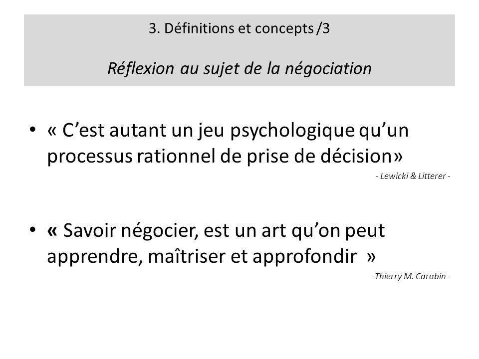 3. Définitions et concepts /3 Réflexion au sujet de la négociation