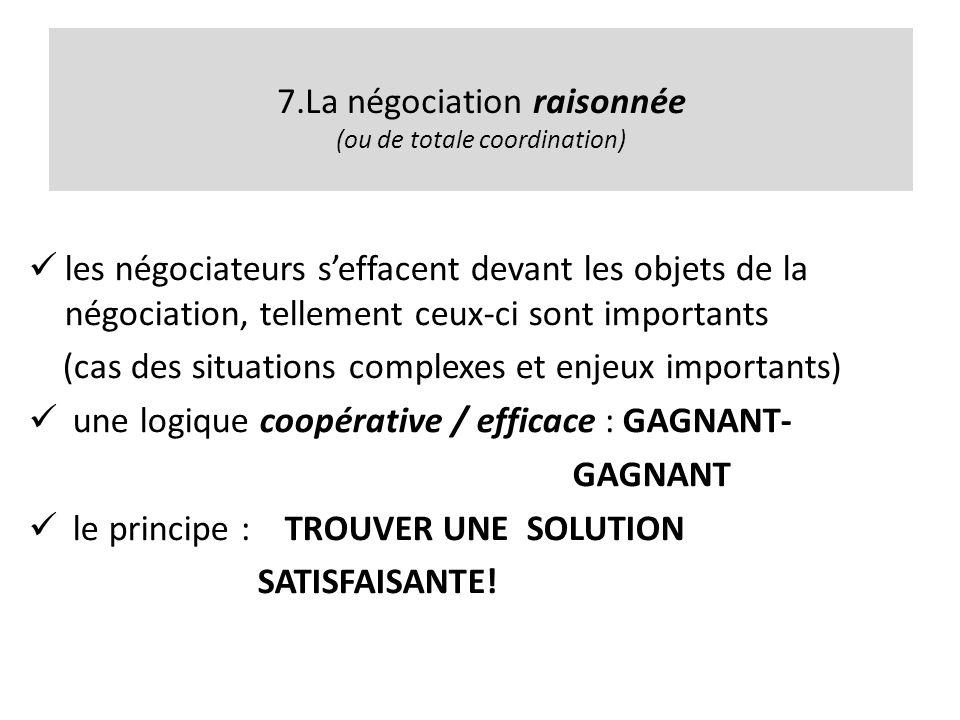 7.La négociation raisonnée (ou de totale coordination)