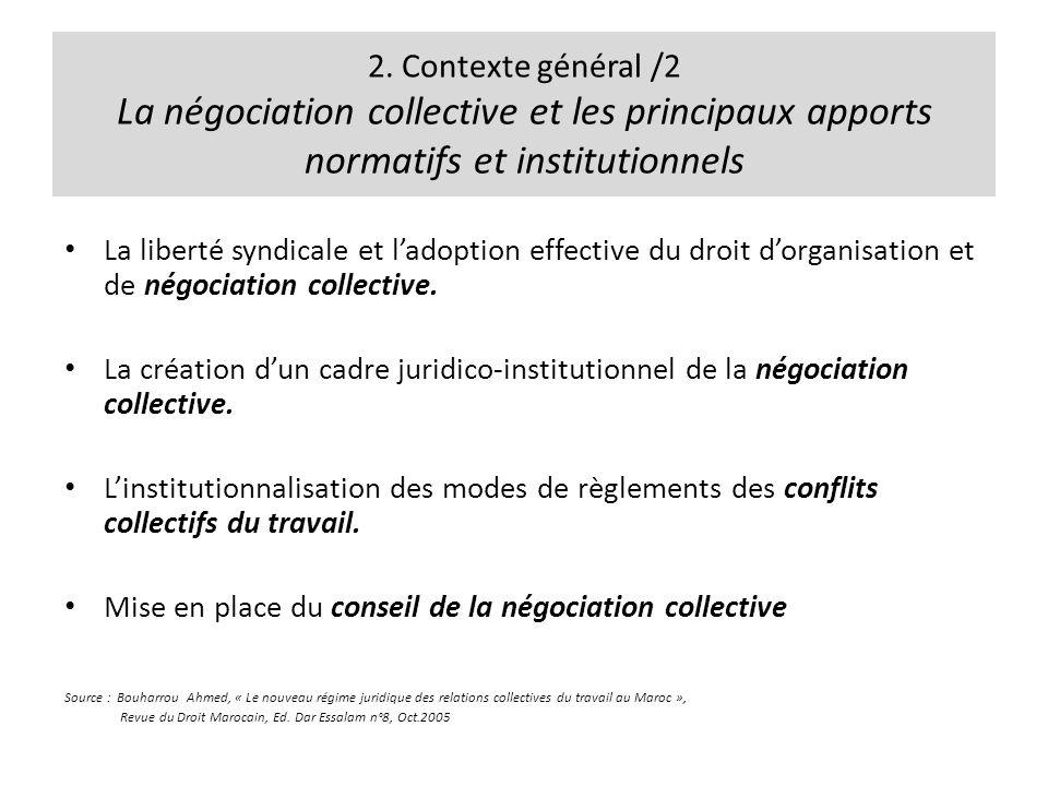 2. Contexte général /2 La négociation collective et les principaux apports normatifs et institutionnels