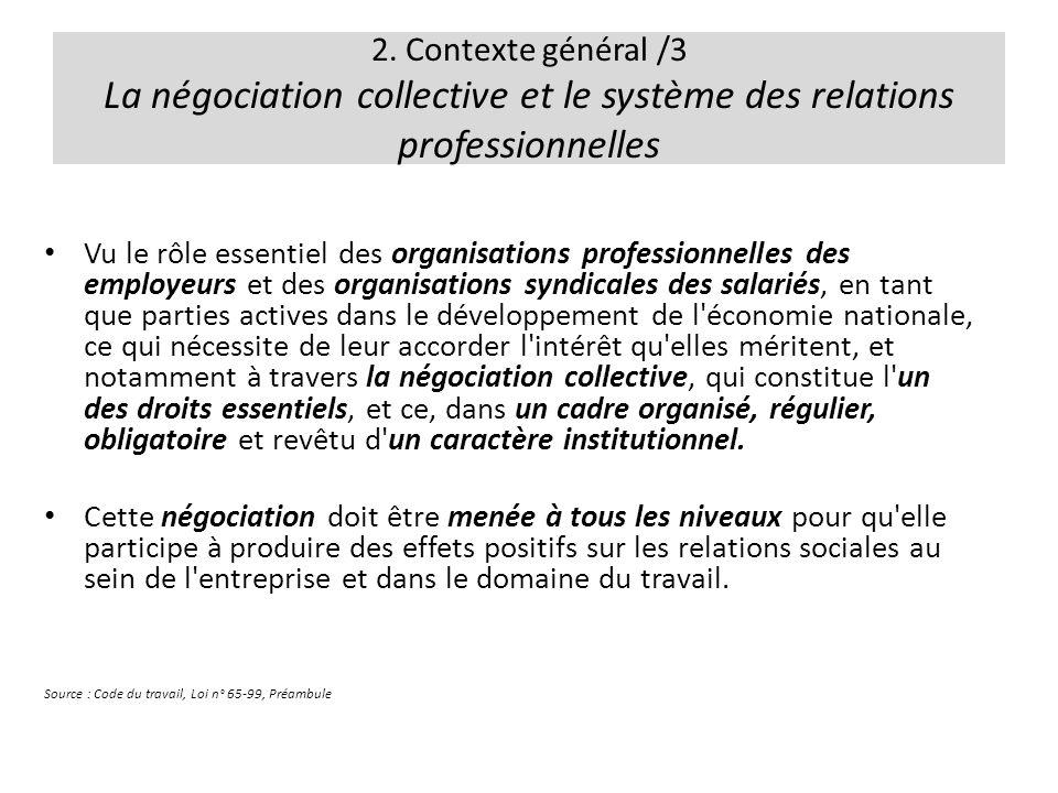 2. Contexte général /3 La négociation collective et le système des relations professionnelles
