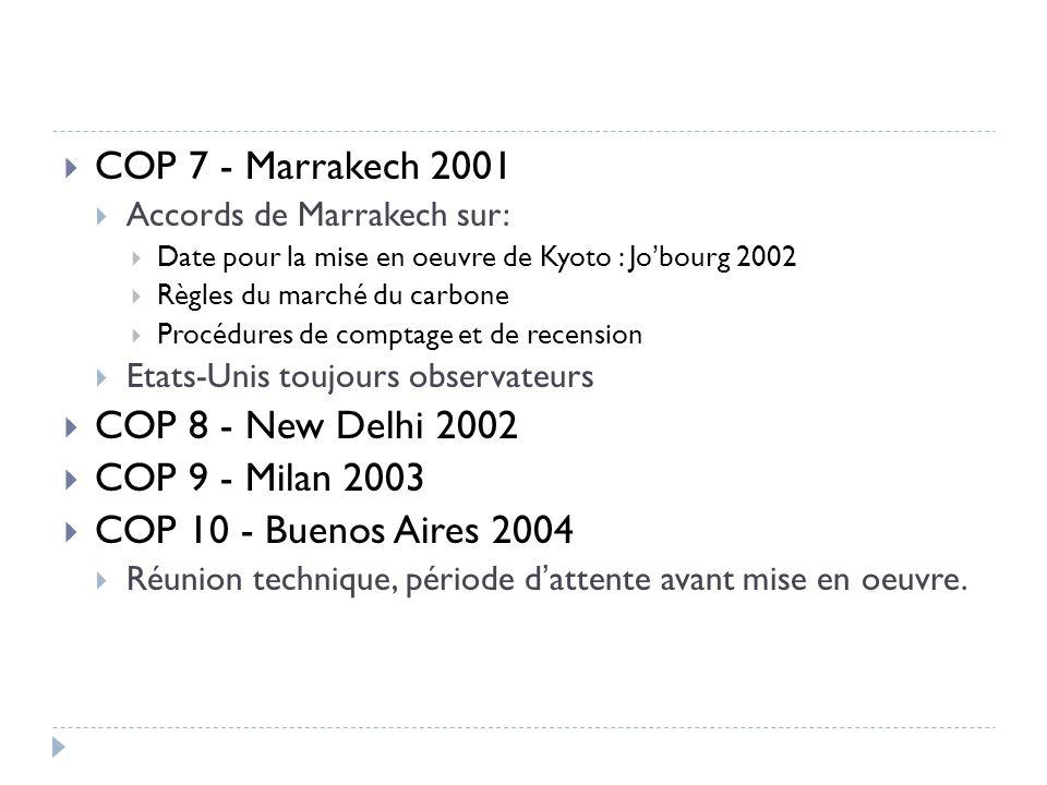 COP 7 - Marrakech 2001 COP 8 - New Delhi 2002 COP 9 - Milan 2003