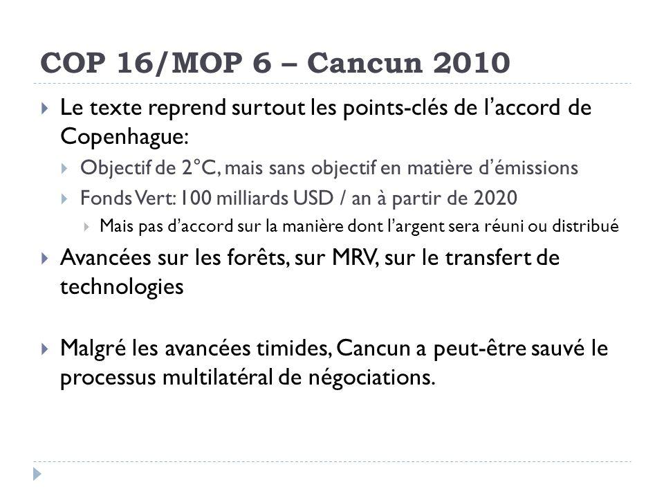 COP 16/MOP 6 – Cancun 2010 Le texte reprend surtout les points-clés de l'accord de Copenhague: