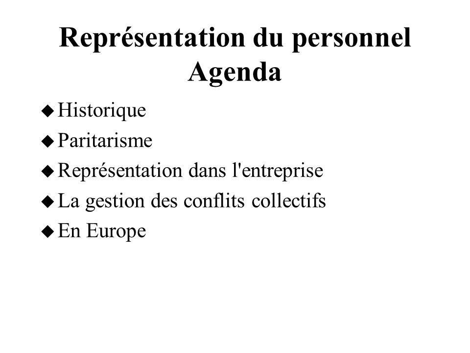 Représentation du personnel Agenda