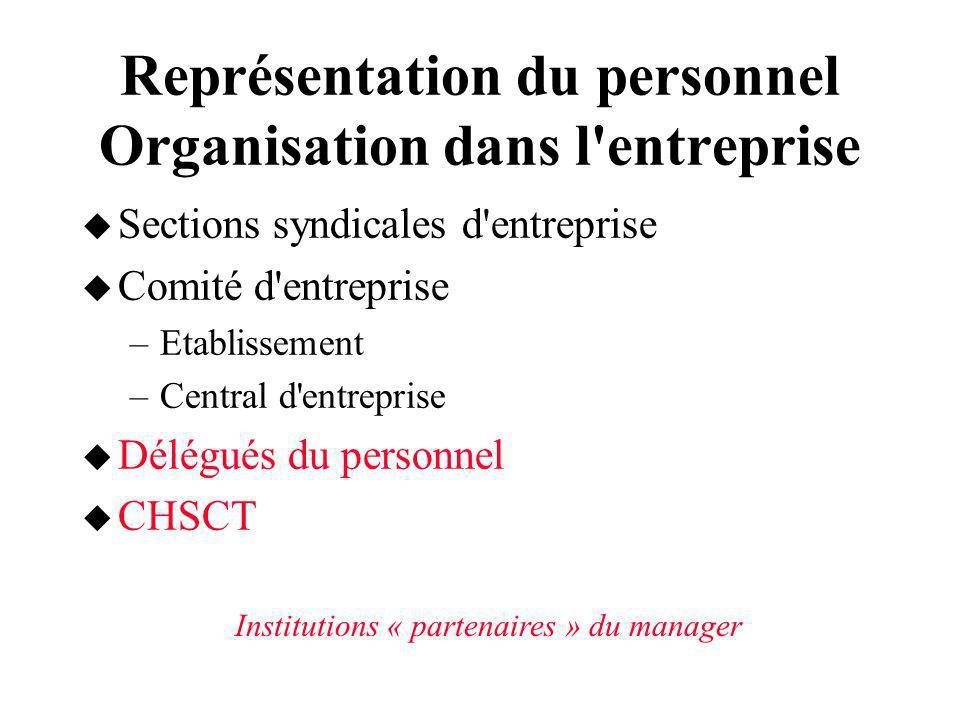 Représentation du personnel Organisation dans l entreprise