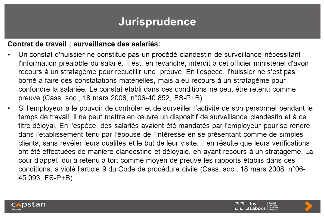 Jurisprudence Contrat de travail : surveillance des salariés: