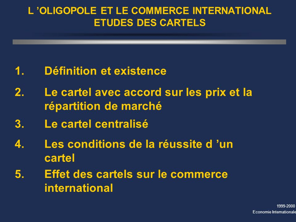 L 'OLIGOPOLE ET LE COMMERCE INTERNATIONAL ETUDES DES CARTELS