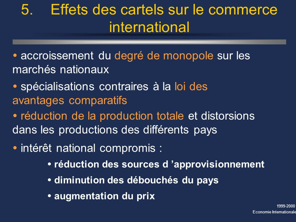 5. Effets des cartels sur le commerce international